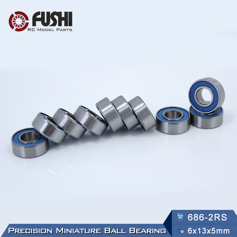 686-2RS Bearing ABEC-3 ( 10 PCS ) 6x13x5 mm Miniature 686RS Ball Bearings 618/6RS Blue Sealed 686 2RS Rulman 10pcs skate board bearing 686zz 686 2z 686 z 6x13x5 mm 2015 new coming shoe bearing abec3
