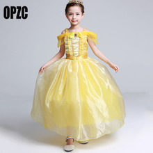 OPZC Princess Belle Girls Halloween Costume Children Party  Dress Kids Christmas Gift Toddler Dresses for Baby Girls Clothing