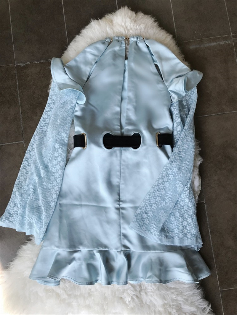 2018 Femmes Casual Bleu Douce Lumière Robe Mini Manches Mignon Arrivent Nouveau Manteau OuZTXPki