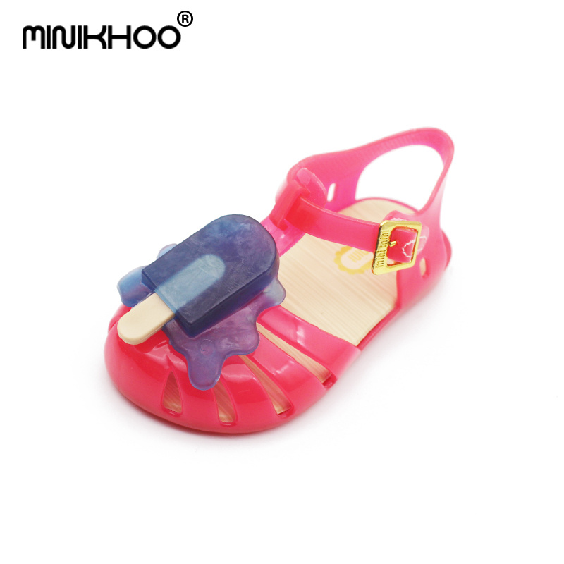Mini Melissa Popsicles Sandals 2018 Children Sandals Non-slip Toddler Sandals Melissa Jelly Shoes 13.5cm-16.5cm Beach Sandals