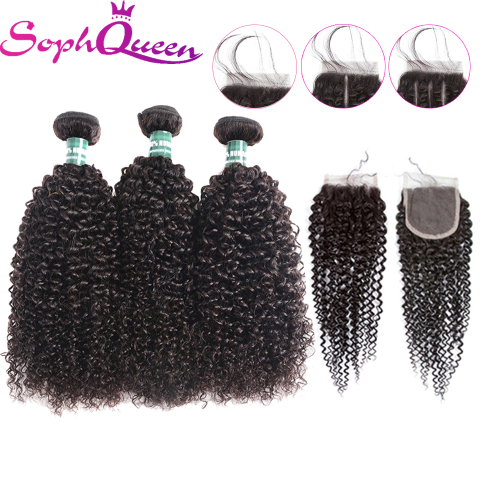 Soph queen Hair Kinky Curly Wave 3 Paquetes con cierre Remy paquetes - Cabello humano (negro)