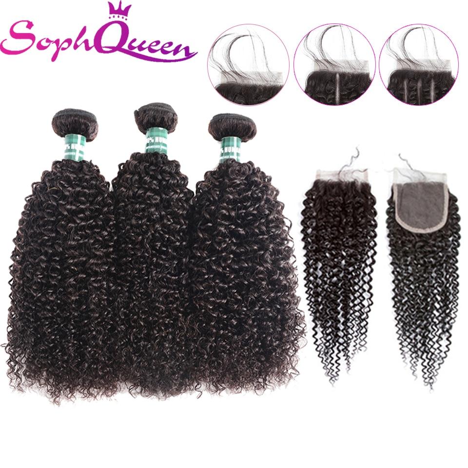 Soph queen haar kinky krullend wave 3 bundels met sluiting remy - Mensenhaar (voor zwart)