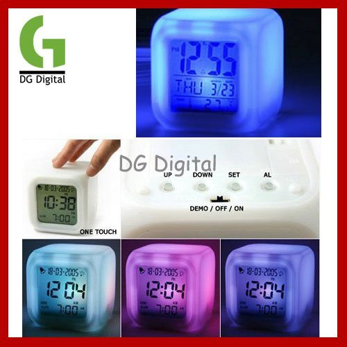 Freeshipping Glowing Led Color Change Digital Alarm Clock Wholesale