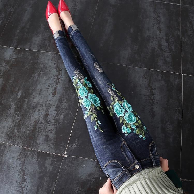 Fashion Womens Jeans 2018 Fall Winter Embroidery Flower Holes Denim Pants Girls Slim Skinny Cowboy Trousers Ladies Pencil Pants