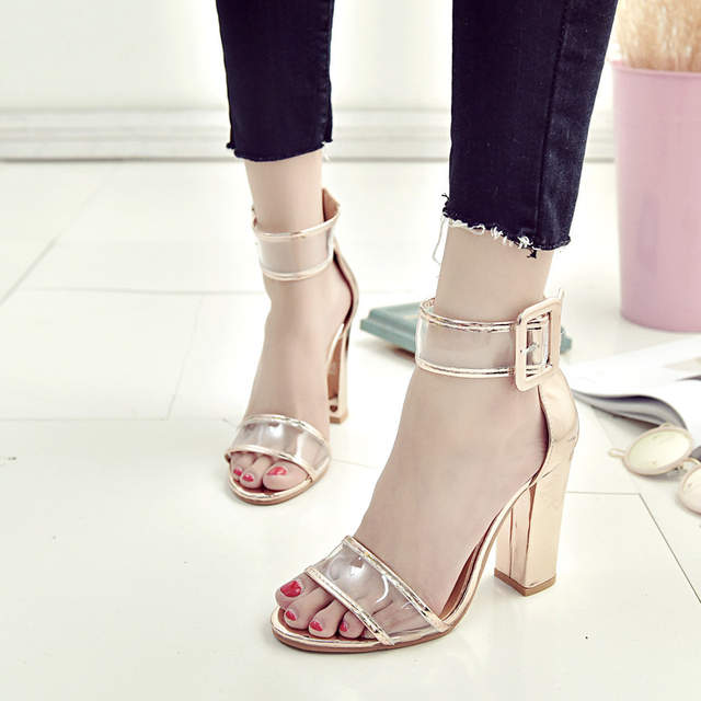 1462d96373c POLALI Super High Shoes Women Pumps Sexy Clear Transparent Strap Buckle  Summer Sandals High Heels Shoes Women Party Shoes