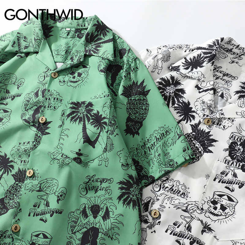 GONTHWID граффити Фламинго Пальма дерево Ананас Череп печати Гавайские пляжные рубашки летние мужские повседневные с коротким рукавом Aloha рубашка мужская