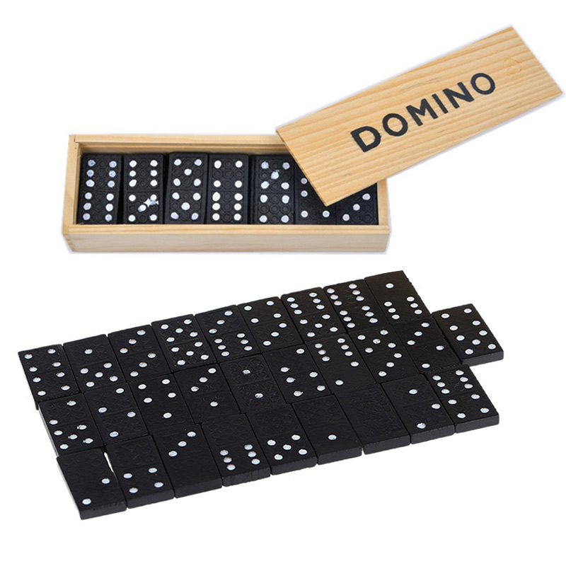 28 Pieces Fun Domino Games Play Set Wooden Puzzles Toy With Box For Children Adult Party