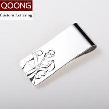 QOONG Custom Lettering Silver Slim Pocket Cash ID Credit Card Money Clip Wallet Metal Holder Mens Steel Bill Clamp