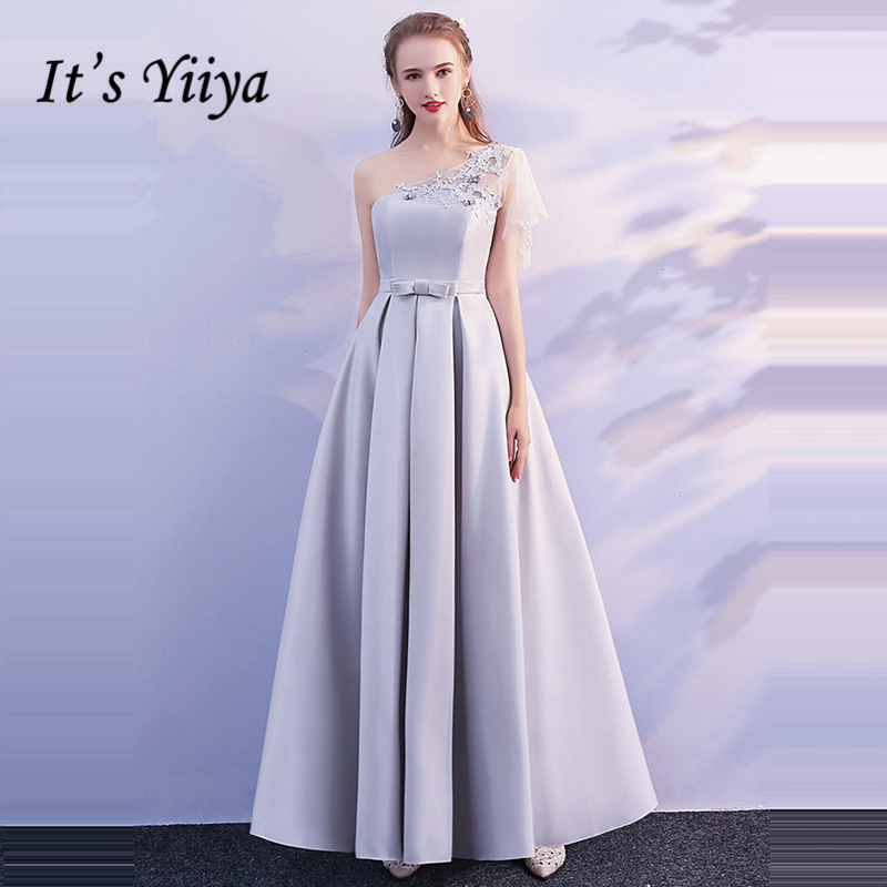 It's YiiYa Gray Sleeveless   Bridesmaids     Dresses   Lady Fashion Designer High Quality Elegant Bow Formal   Dress   LX704