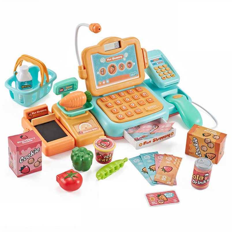 Image 5 - 24Psc/set Electronic Supermarket Cash Register Kits Kids Toy Simulated Checkout Counter Role Pretend Play Cashier Shopping Toys-in Groceries Toys from Toys & Hobbies