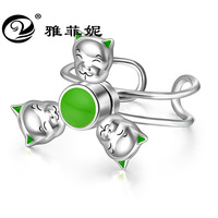 Cartoon three small pig rotating ring S925 sterling silver jewelry, explosion, opening guard ring