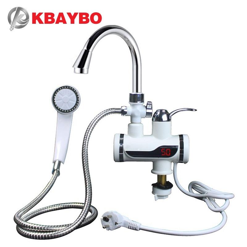 KBAYBO 3000 W calentador de agua baño cocina calentador de agua eléctrico instantáneo toque LCD Pantalla de temperatura sin tanque grifo