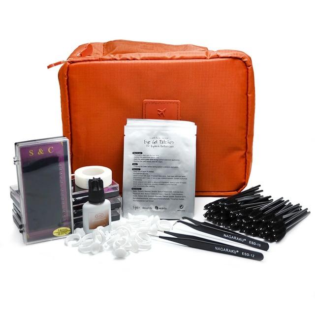 S & C Nuevo Portátil Profesional de Pestañas Kit de Extensión de Pestañas Falsas Pestañas Maquillaje Set, kit de extensión de pestañas