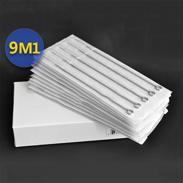 Permanent Makeup 50Pcs/Box Disposable Sterile Tattoo Needles 9M1 For Tattoo Gun Machine Grip Tube Kit Sets Tattoo Supplies