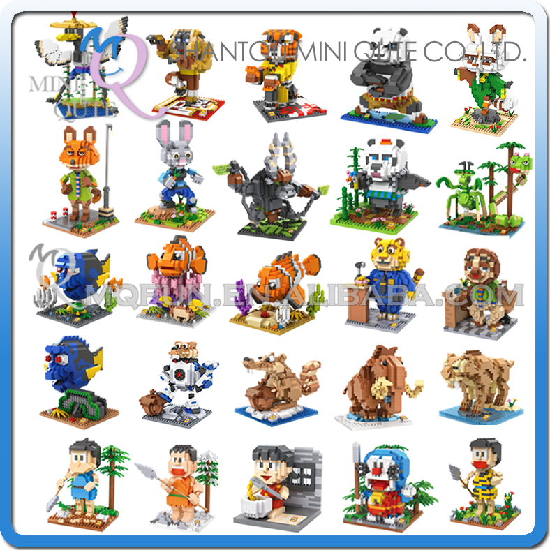 Mini Qute LOZ Anime Doraemon finding neno Zootopia Kung Fu Panda plastic building block model action figures educational toy