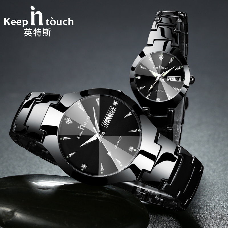 KEEP IN TOUCH Brand Luxury Lover Watches Quartz Calendar Dress Women Men Watch Couples Wristwatch Relojes Hombre 2017 With Box keep in touch luxury women watches top brand quartz bracelet dress calendar rhinestone ladies watch luminous relogios feminino