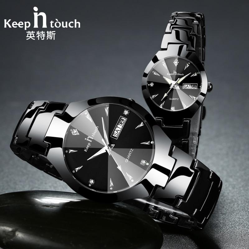 Relógio de pulso dos casais relojes hombre 2019 com caixa manter em contato marca de luxo amante relógios quartzo calendário vestido