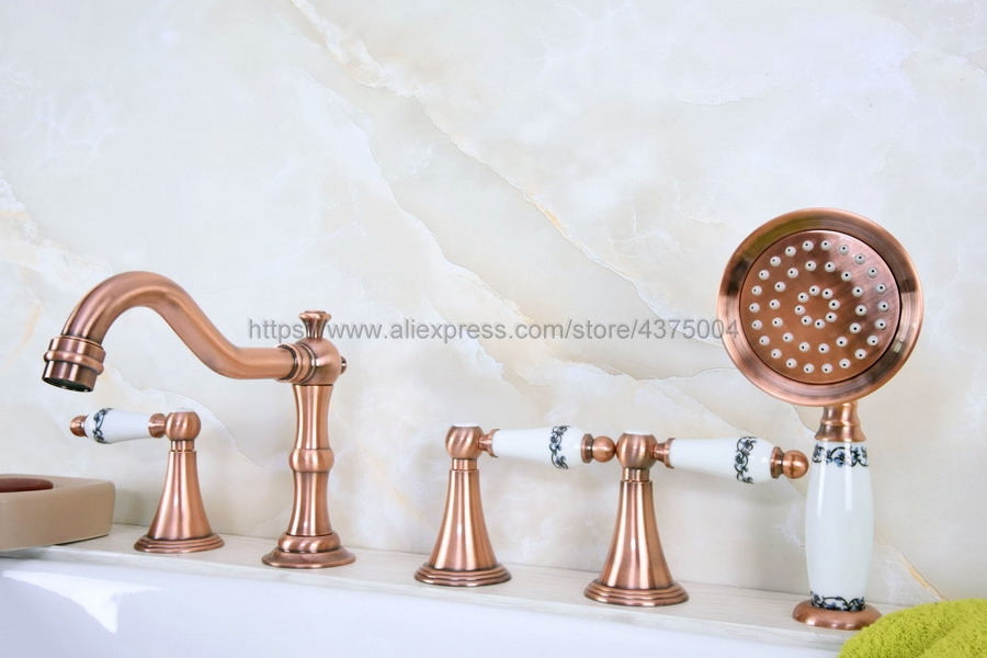 Antique Red Copper Bathtub Faucet 3 handle 5 hole Bathroom Faucet Set Rainfall Shower Hand Basin Hot Cold Mixer Tap Ntf214Antique Red Copper Bathtub Faucet 3 handle 5 hole Bathroom Faucet Set Rainfall Shower Hand Basin Hot Cold Mixer Tap Ntf214