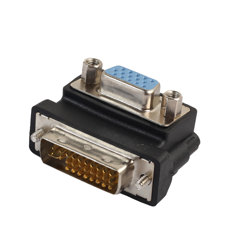 Nickel Plated DVI-I 24+5 Male to VGA 15 Pin Female 90 degree Right Angle Convertor Adapter 15 Pin VGA to DVI Male Plug 4pcs gold plated right angle rca adaptor male to female plug connector 90 degree
