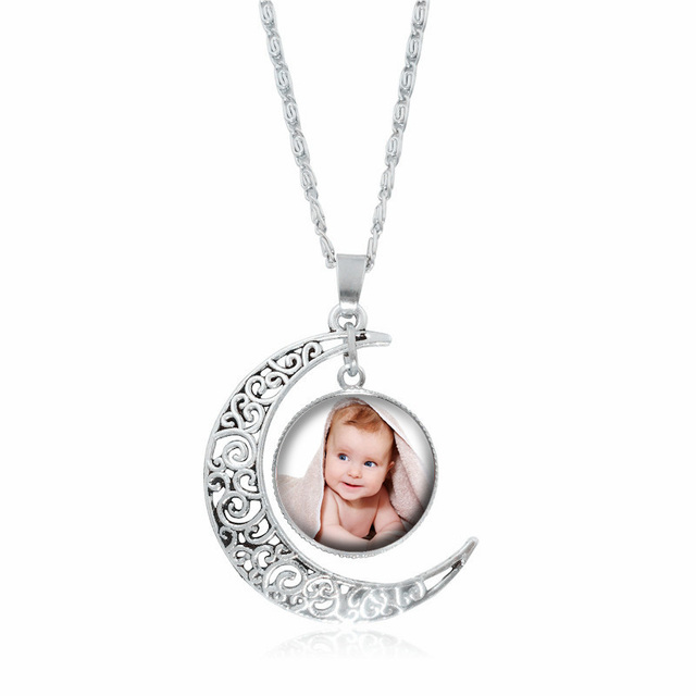 New 2018 personalized photo pendants custom silver moon necklace new 2018 personalized photo pendants custom silver moon necklace photo of your baby child lovely loved mozeypictures Choice Image