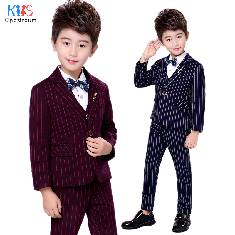 Kindstraum Boys Striped Wedding Clothing Sets 3pcs Fashion Blazer+Vest+Pant Kids 2018 New Children Gentleman Formal Suits, MC919 2018 new children clothing set england kids clothes gentleman boys party wedding suits baby boy formal plaid long sleeved sets