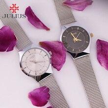 Femmes Lady mince montre Julius Quartz heures meilleur mode robe classique OL Bracelet acier amant fille d'anniversaire cadeau JA-577