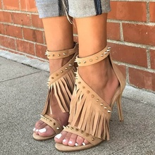 Hot Selling Suede Fringed Woman Shoes Open Toe Rivets Studded High Heel Sandals Ankle Strap Gladiator Shoes high quality white suede fringed high heel sandals 2015 sexy open toe ankle strap sandals summer high heel sandals