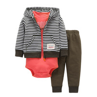 Newborn Clothes Striped Baby Outwears Clothes Hooded For Baby Boys And Girls With Baby Jumpsuit And Pants 3PCS/ Set