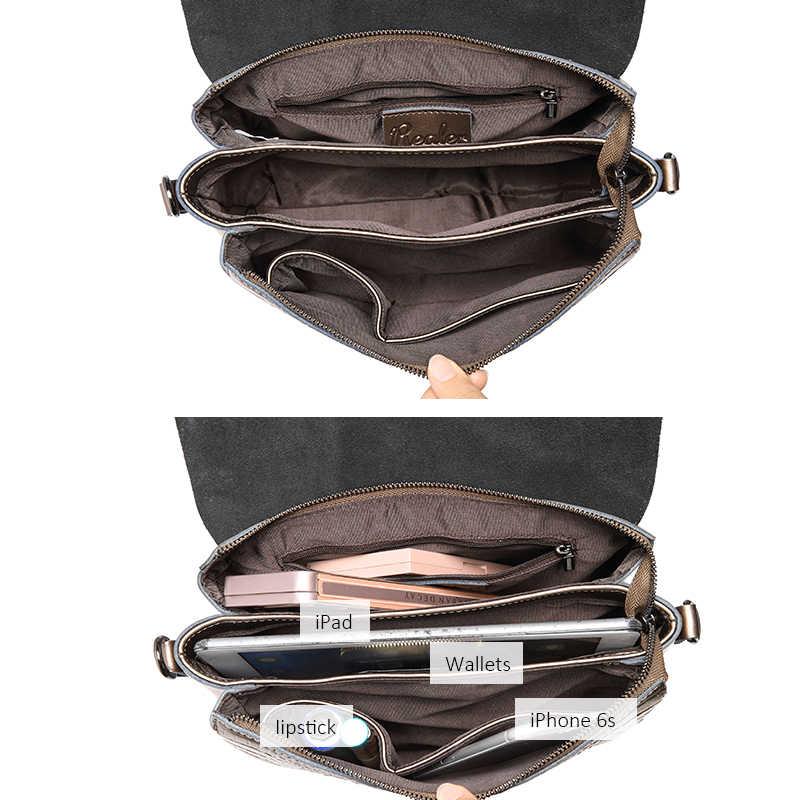 Realer kadınlar omuz çantaları bölünmüş deri crossbody çanta bayan çanta kadın timsah baskı zincir askılı çanta