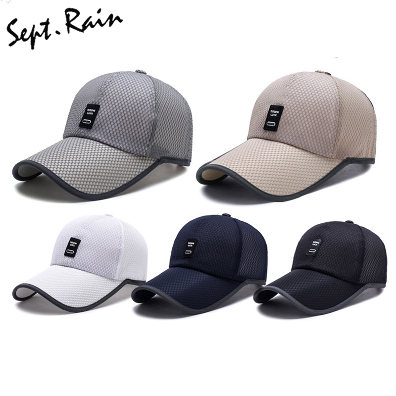 4fd22b44422 Mens Summer Adjustable Mesh Fitted Baseball Caps Male Simple Black ...