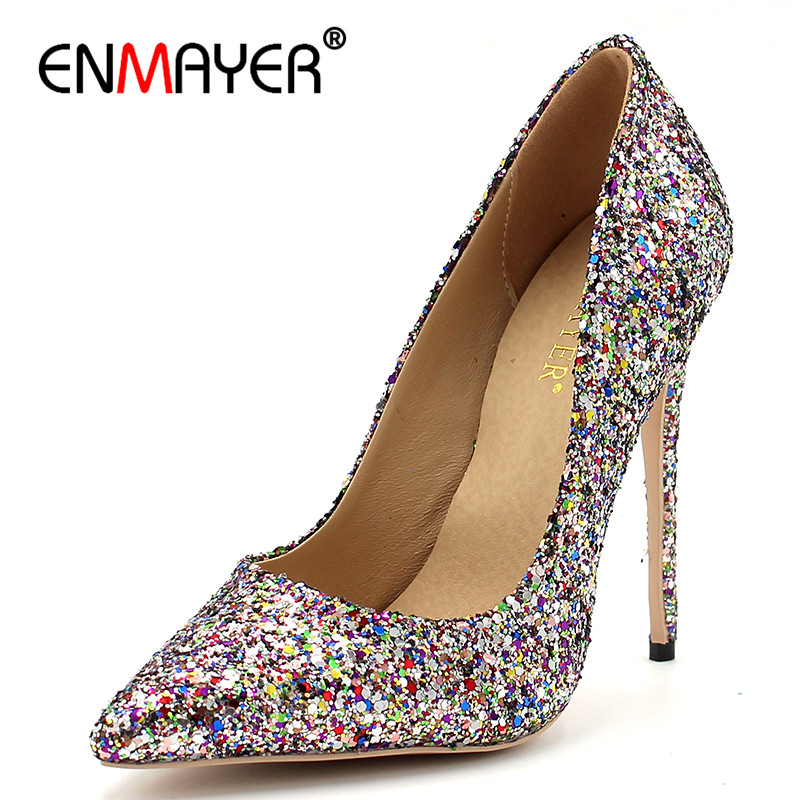 ENMAYER Customer-made Heels Size Shallow Pumps Shoes Woman High Heels Pointed Toe Bling Glitter Slip-on Party Wedding Shoe enmayer pointed toe sexy black lace party wedding shoes woman high heels shallow pumps plus size 35 46 thin heels slip on pumps