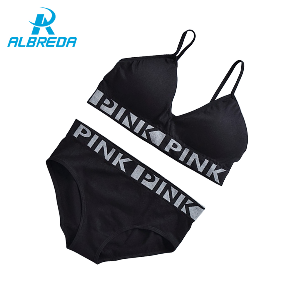ALBREDA New Arrival Breathable Sexy Sport Bra Sets 2 pc Women Running Yoga Bra Suits No rims Quick-drying underwear Gym Vest Top