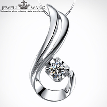 JEWELLWANG Moissanite Pendants for Women 0.05CT 18K White Gold with Silver925 Necklace Brilliant Pendant Girl Gift Fine Jewelry