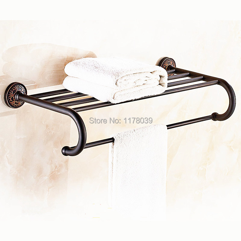 Bathroom Towel Rack Kit: European Style Black Towel Rack,wall Mounted Antique Brass