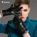 Gours Winter Women's Genuine Leather Gloves 2016 New Fashion Brand Black Warm Wool Driving Gloves Goatskin Mittens luvas GSL036