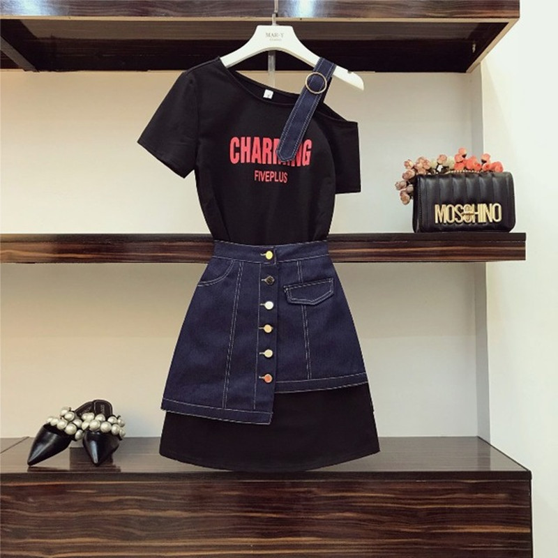 2019 New Fashion Summer Women Strapless Shoulder Letter Long T Shirt + High Waist Denim Skirt Two Piece Student Girls Skirt Set
