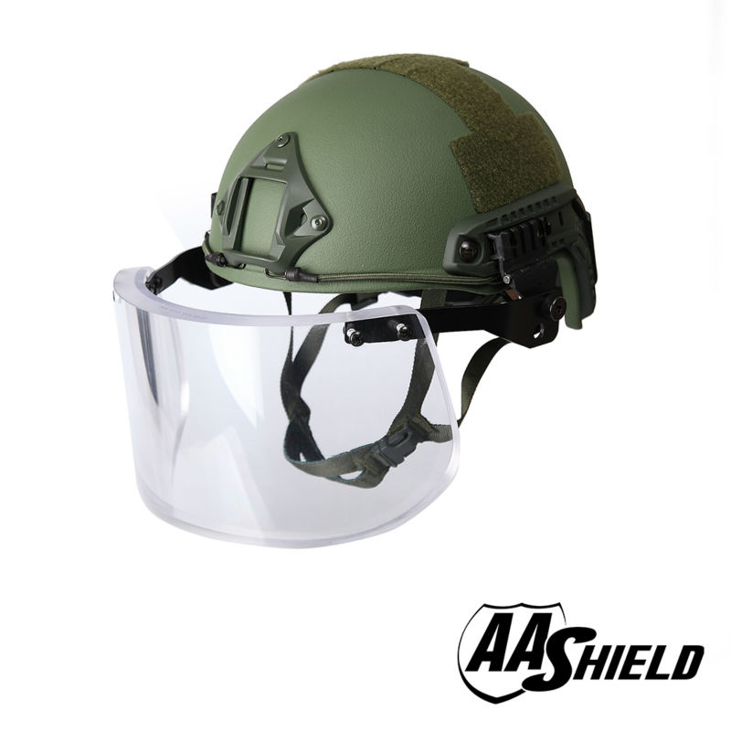 AA Shield Ballistic ACH High Cut Tactical Safety Helmet Bulletproof Glass Mask Body Armor Aramid Core NIJ IIIA 3A Kit OD