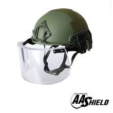AA Shield Ballistic ACH High Cut Tactical Safety Helmet Bulletproof Glass Mask Body Armor Aramid Core NIJ IIIA 3A Kit OD