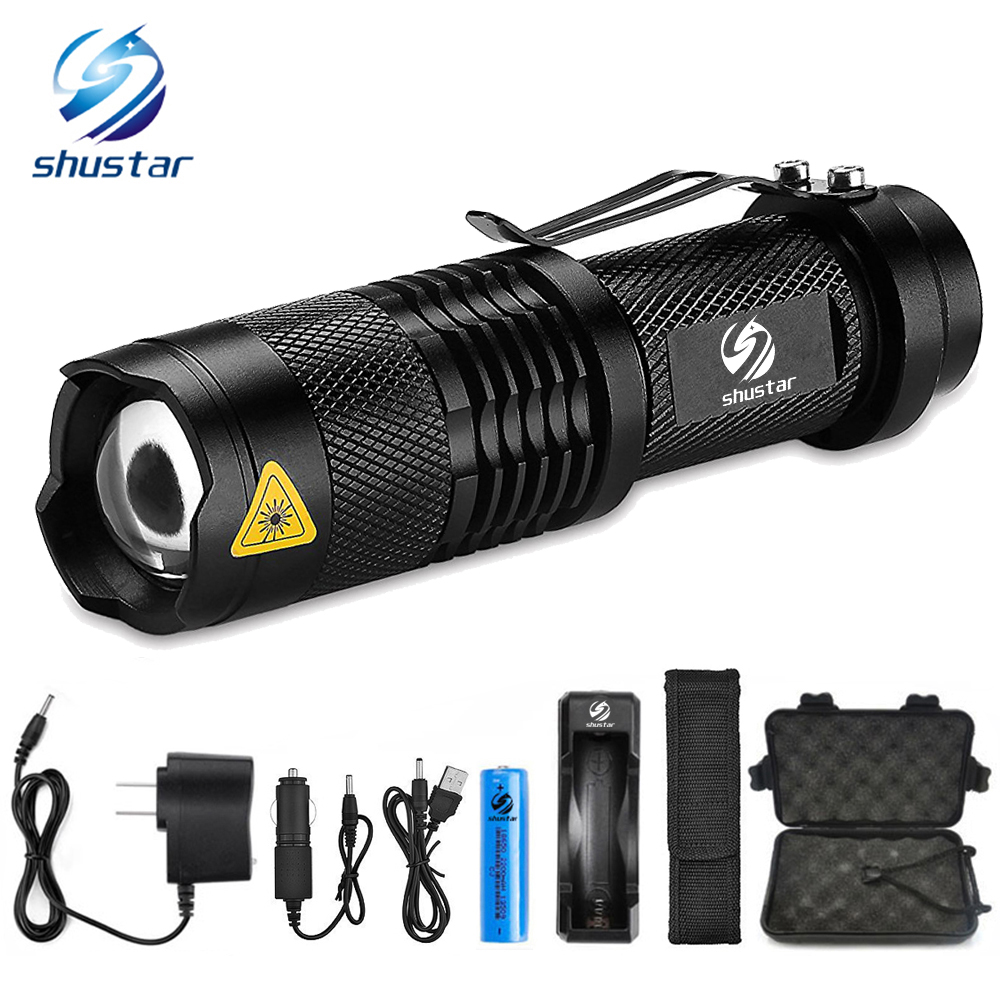 Mini Zoom T6/L2 LED Flashlight zoomable Led Torch 5 modes 8000 Lumens waterproof camping light with 18650 battery + Free uniquefire uf 1407 mini 850 ir led zoomable flashlight 3 modes 30mm convex lens torch camping light for 1x 18650 battery