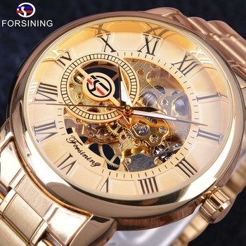 Forsining Retro Golden Series Transparent Case 3D Logo Stainless Steel Mens Watches Top Brand Luxury Mechanical Skeleton Watches forsining 3d skeleton royal retro design blue steel mesh band golden movement men mechanical male wrist watches top brand luxury