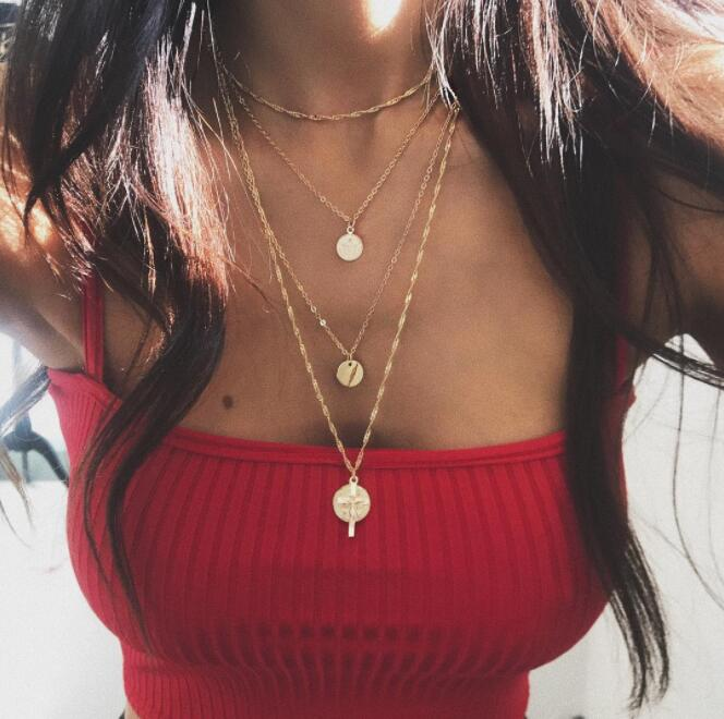 Tocona Boho Multi Chain Necklace Geometric Round Cross Pendant Necklaces Charm Necklacesfor Women Jewelry Accessories 6544