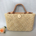 2017 handmade rattan handle + corn husk basket  vintage brief beach bag natrual straw woven tote bag
