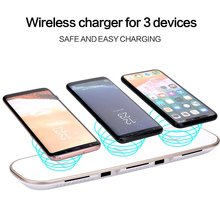 3 in 1 Qi Wireless Charger For iPhone X 8 8 Plus Samsung Note 8 S8 Plus S9 S9 Plus Fast Wireless Charging+2 USB Charging Ports