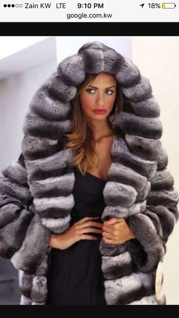 935a18894c7 Arlene sain South American imports of a chinchilla black velvet Longmao fur  coat with hooded blue