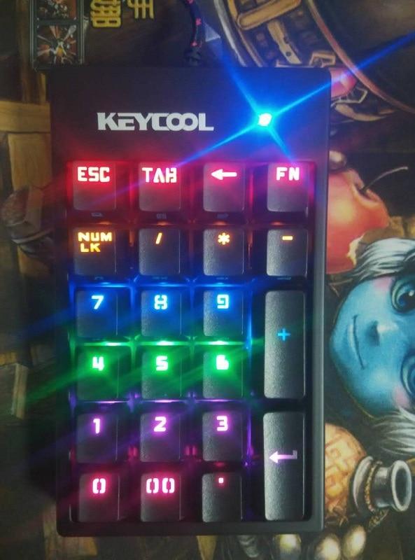 Keycool 22-key NUMPAD numeric pad ten key pad mechanical keyboard bank pad kailh mx blue switches keypad rainbow LED silicone usb 18 key numeric keypad numpad for laptop black