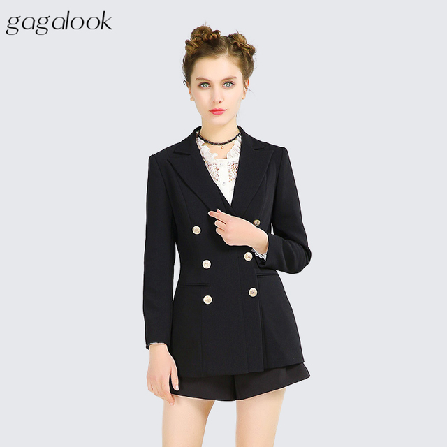 Gagalook Black Suit Blazer Women Office Work Gold On Peak Lapel Shoulder Pad Slim Jacket