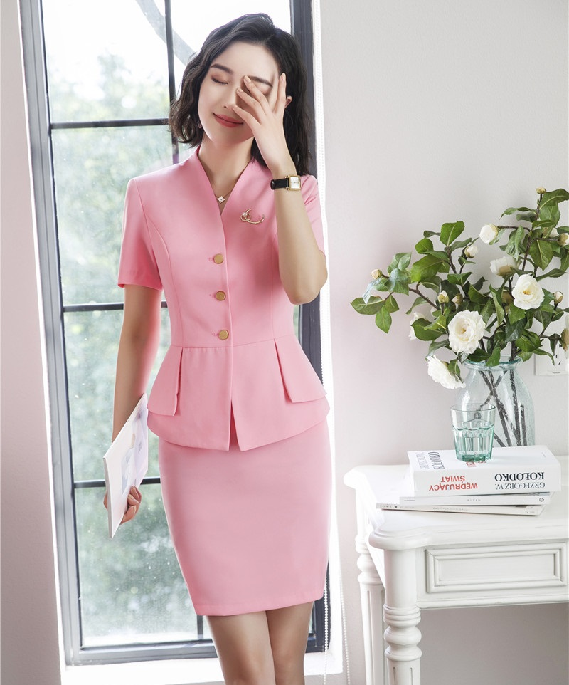 d09ede920bde Summer Fashion Women Skirt Suits Pink Blazer and Jacket Sets Ladies Work  Wear Business Clothes Office Uniform Designs
