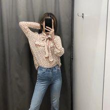 HCBLESS 2019 summer new fashion wild sweet contrast color edging bow polka dot shirt chiffon shirt недорого