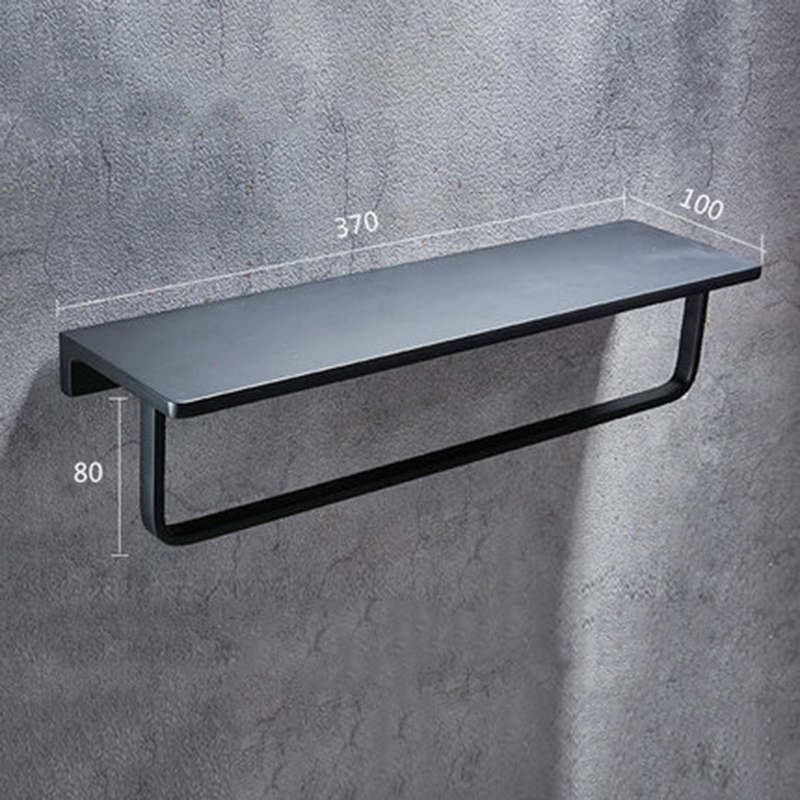 Black Towel Shelf Bathroom Towel Holder Wall-mounted Towel Rack Bath Towel aluminum wall mounted square antique brass bath towel rack active bathroom towel holder double towel shelf bathroom accessories