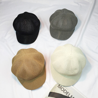 新しいファッションパナマわら帽子ベレーフルカラーレディシェード日焼け防止帽子春と夏の帽子八角シャポー